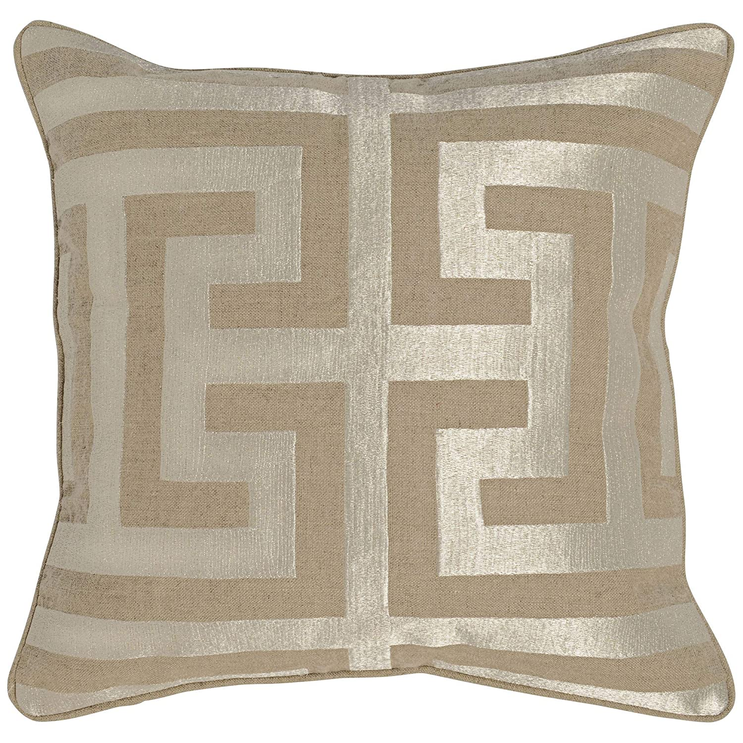 "Kosas Home AV120011Z Carly Linen Feather and Down Filled Pillow, 22"", Pearl/Khaki"