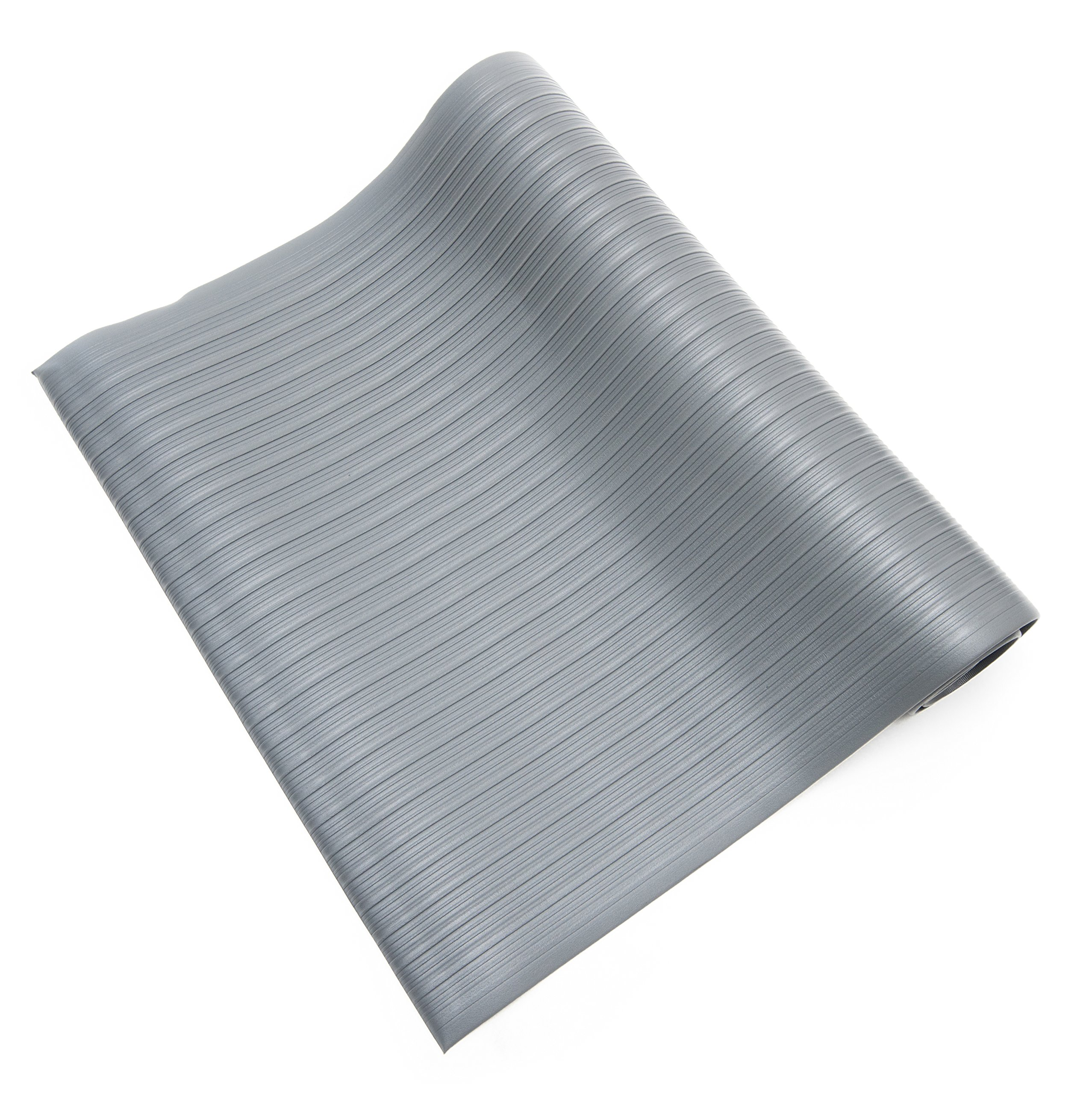 Bertech Anti Fatigue Vinyl Foam Floor Mat, 3' Wide x 5' Long x 3/8'' Thick, Ribbed Pattern, Gray, Bevelled on All Four Sides (Made in USA)