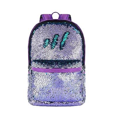 Amazon.com | HeySun Girls Reversible Sequins Bookbag Backpack for School Lightweight Trendy Back Pack for Boys (Purple/Teal) | Casual Daypacks