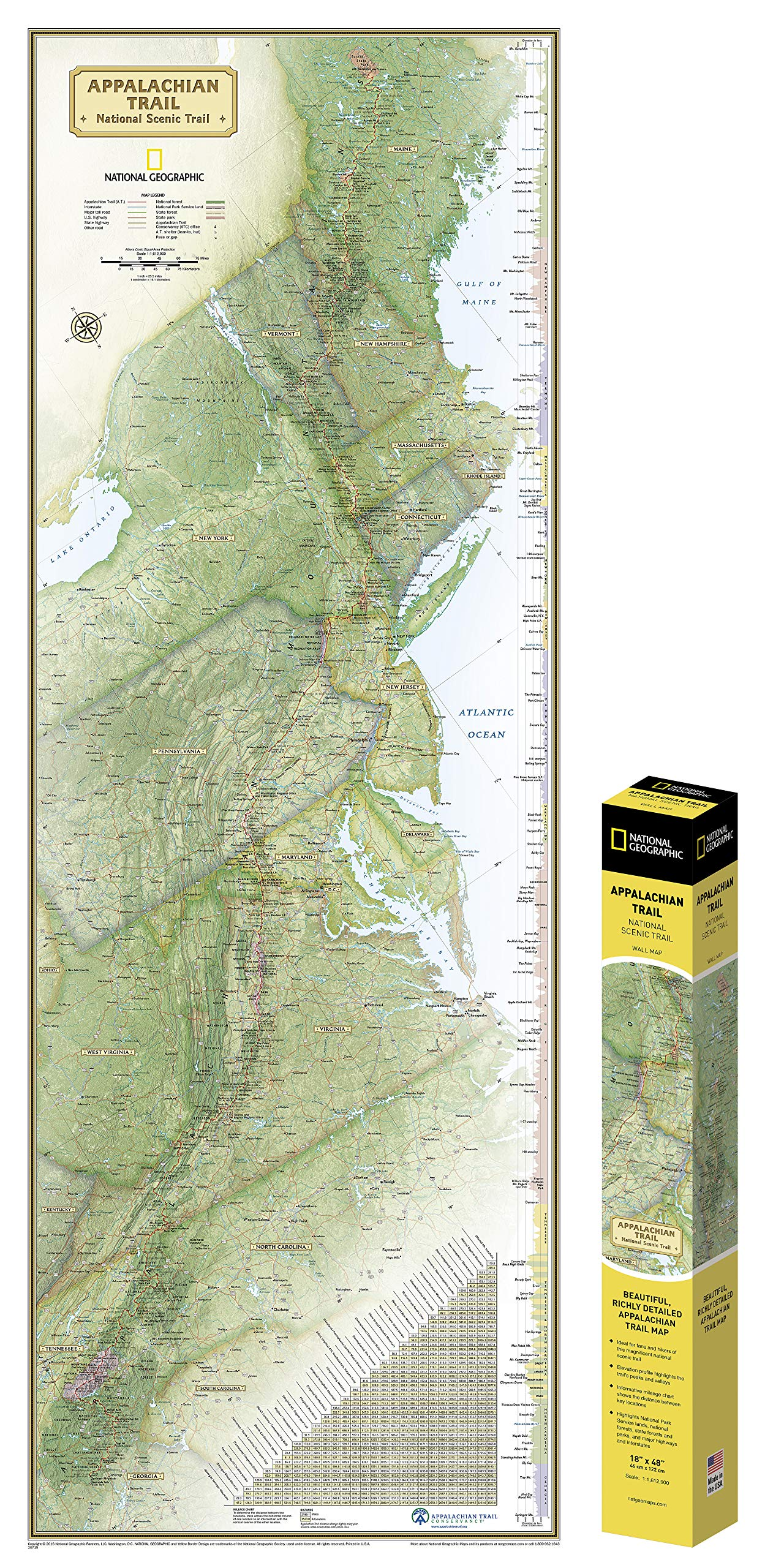 National Geographic: Appalachian Trail Wall Map in gift box ... on great smoky mountains national park, international appalachian trail, shenandoah national park, hiking appalachian trail books, hiking yellowstone map, hiking john muir trail map, hiking blue ridge parkway map, mount rogers, hiking cades cove map, skyline drive, blood mountain, hiking white mountains map, continental divide trail, springer mountain, brasstown bald, mount katahdin, hiking georgia map, appalachian mountains, great smoky mountains, hiking pacific crest trail map, long trail, hiking the appalachian trail, hiking vermont map, hiking clingmans dome map, hiking tuscarora trail map, bill bryson, hiking foothills trail map, north country trail, allegheny trail map, appalachian trail conservancy, pacific crest trail, hiking new england map, blue ridge mountains, mount mitchell, hiking trail shoes, hiking the appalachian mountains, clingmans dome, hiking shenandoah national park map,