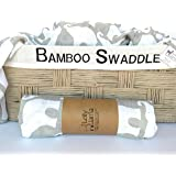 Baby Muslin Swaddle Blanket by Lolly Llama – Single Soft 100% Bamboo Swaddle | Large Baby Swaddles for Quality Baby Comfort & Sleep | Muslin Swaddling and Receiving Blankets (Elephant)