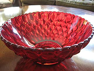 "product image for 10.25"" Ruby Red Glass Elizabeth Pattern Centerpiece Serving Bowl"