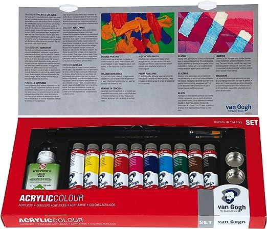 Talens VAN GOGH - Set de pintura acrílica con tubos de 40 ml y accesorios: Amazon.es: Hogar