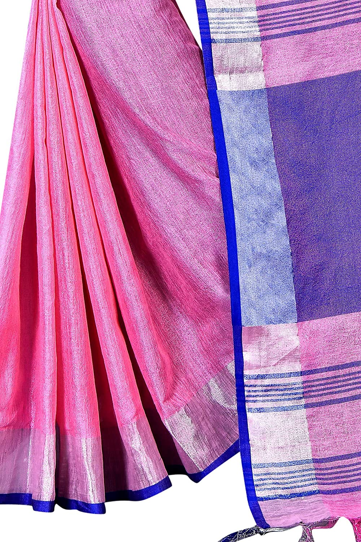 Best BabyPink Color Linen Silk Leaf Saree With Blouse Piece For Festive Wear