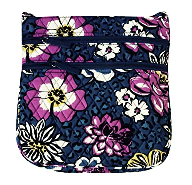 Vera Bradley Triple Zip Hipster Cross-body Bag (African Violet with Purple  Interiors) 36830a05e2d60