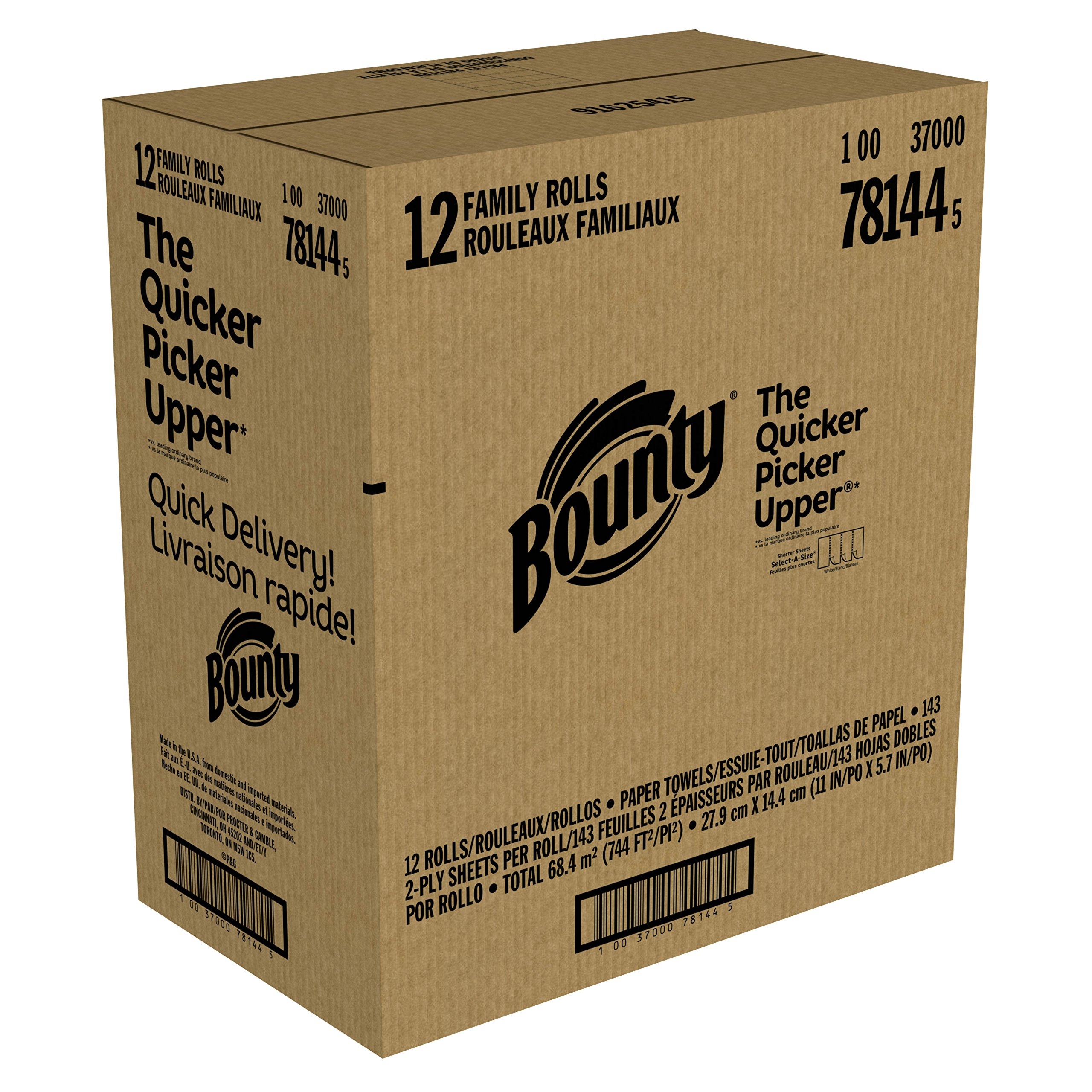 Bounty Quick-Size Paper Towels, White, Family Rolls, 12 Count (Equal to 30 Regular Rolls) by Bounty (Image #7)
