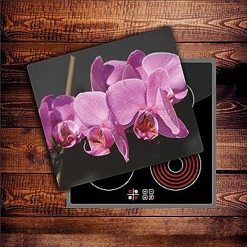 Herdabdeckplatten 60x52 cm Ceranfeld Abdeckung Glas Spritzschutz Küche Pink