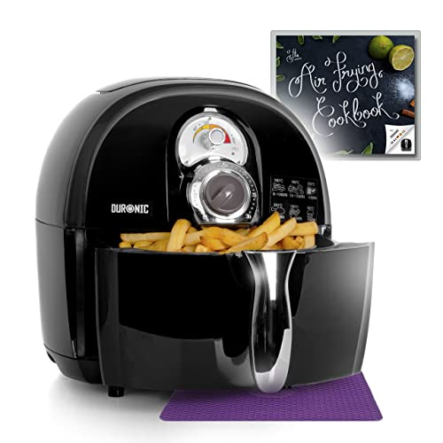 Duronic Air Fryer AF1/B 1500W Multicooker Mini Oven - Black - Recipe Book Included - Healthy Cooker Food Oven