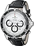 Perrelet Men's A1054/1 Seacraft Stainless Steel Automatic Watch with Black Leather Band