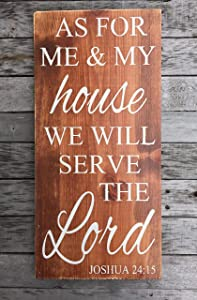 As for Me and My House We Will Serve The Lord - Hand Painted Wood Sign - Rustic Wood Sign - Scripture Decor - Bible Verse Sign - Family Sign Wooden Plaque Wall Art Hanging Sign 6