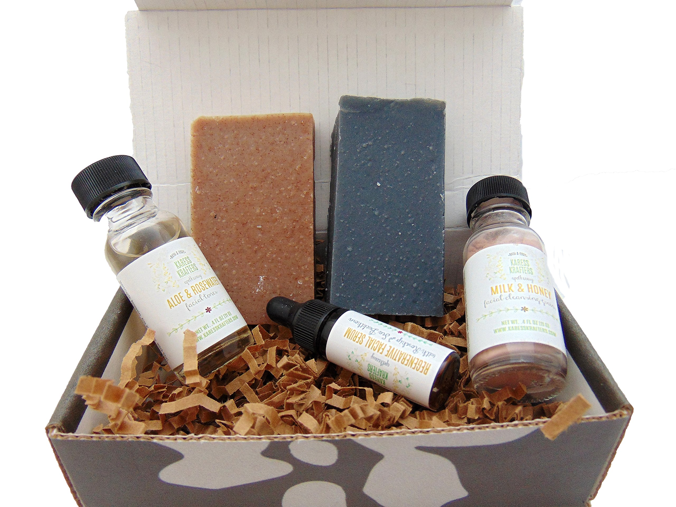 Facial Care Sampler, Skin Care, Activated Charcoal Soap, Rosehip & Avocado Soap, Sea Buckthorn Serum, Rose Water & Aloe Toner by Karess Krafters Apothecary