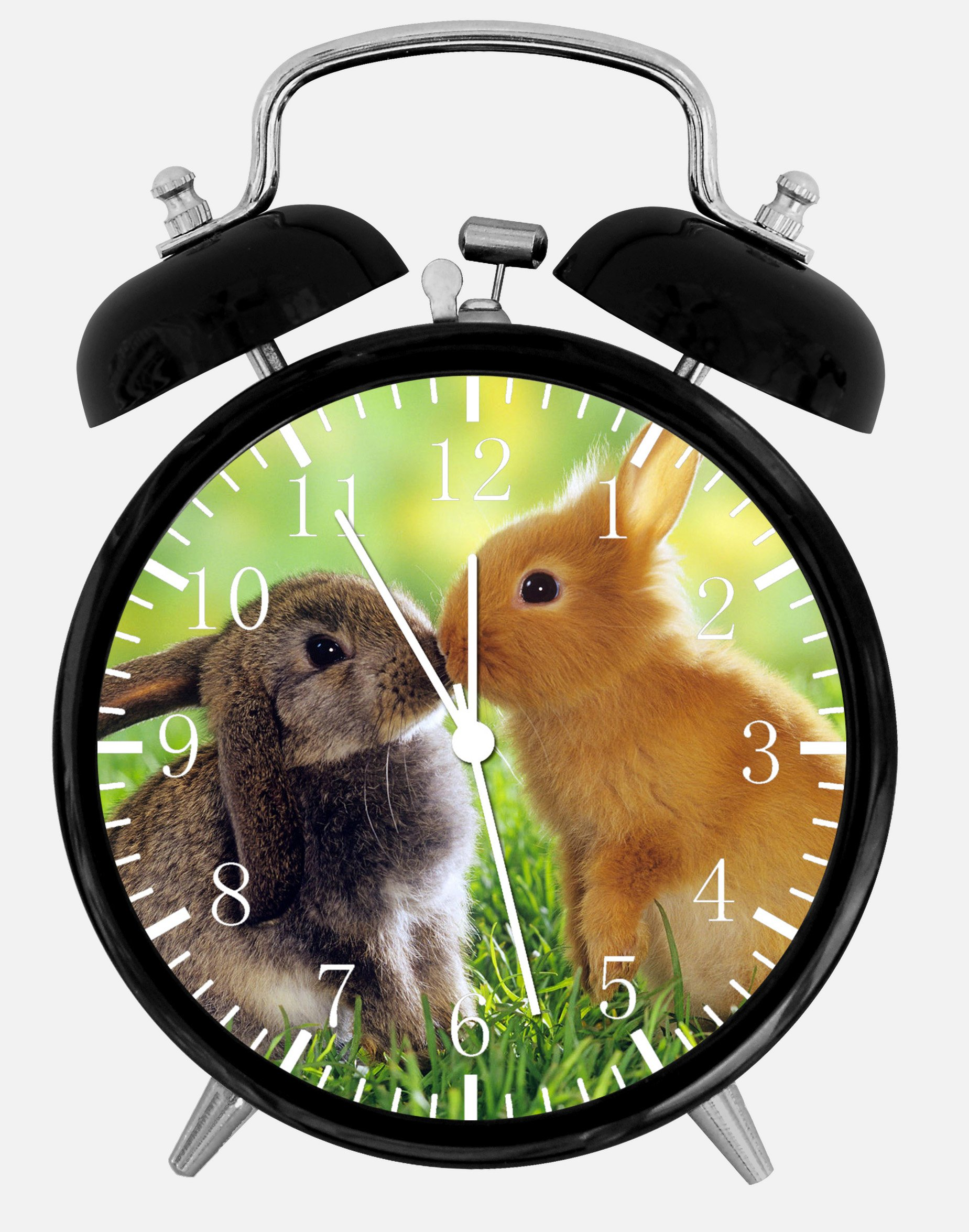 Cute Bunny Rabbits Alarm Desk Clock 3.75'' Home or Office Decor E121 Nice For Gift