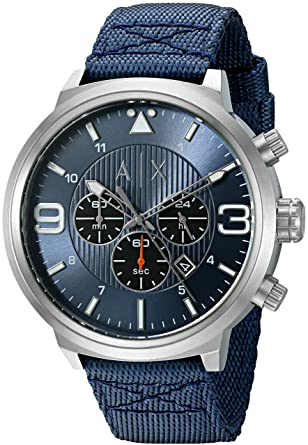 Armani Exchange Mens AX1373 Blue Silicone Quartz Watch
