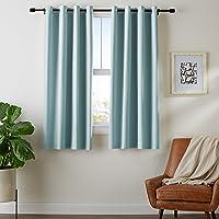AmazonBasics Juego de cortinas para bloqueo de luz y aislamiento térmico, con ojales y alzapaños, 132 x 160 cm (52 x...