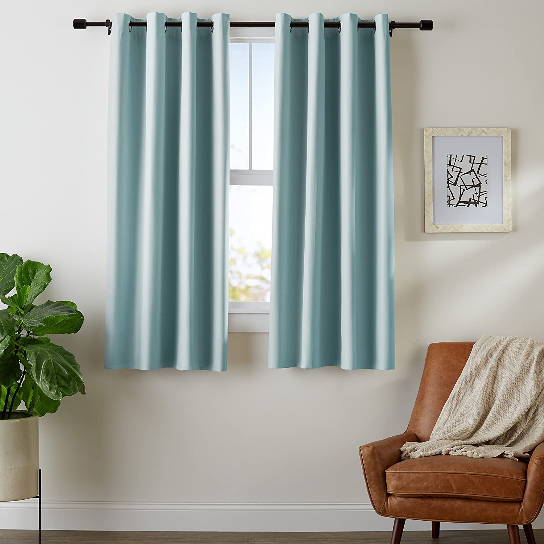 "AmazonBasics Room-Darkening Blackout Curtain Set with Grommets - 52"" x 63"", Seafoam Green"