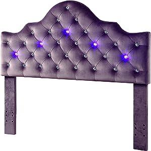 Furniture of America Bellina Tufted Fabric LED Headboard - IDF-7404BR-HB-T