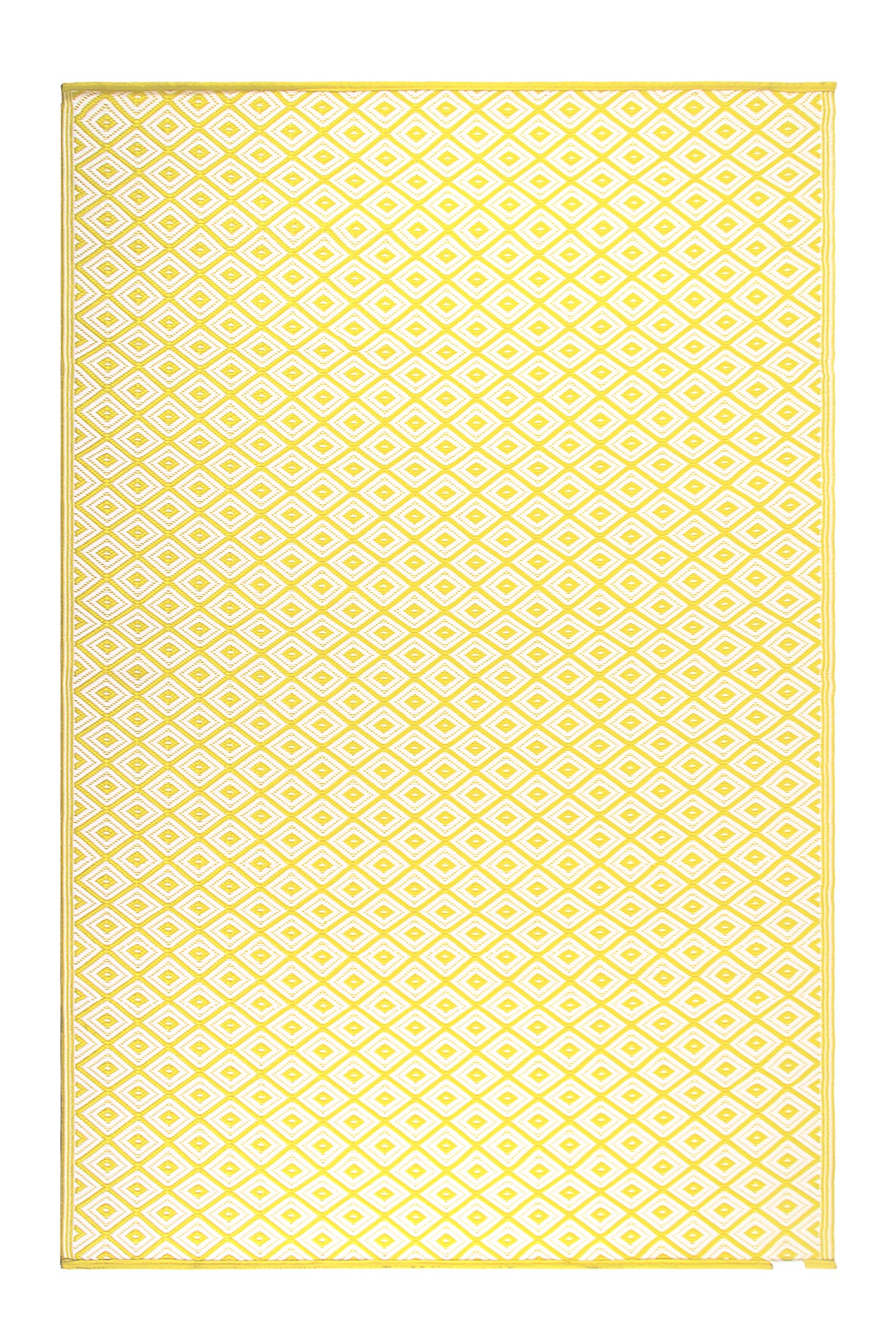FH Home Indoor/Outdoor Recycled Plastic Floor Mat/Rug - Reversible - Weather & UV Resistant - GM16 - Yellow (5 ft x 8 ft) by FH Home (Image #3)
