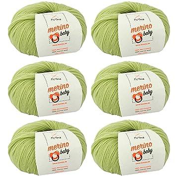 Babywolle zum Häkeln weich * Merino Baby apfel (Fb 6040) * 6 Knäuel ...
