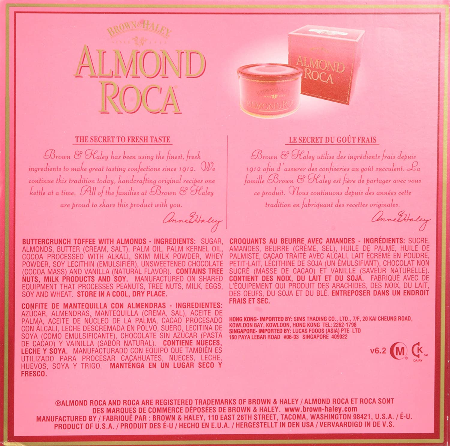 Amazon.com : Almond Roca Classic Tin in Gift Box (12 oz) : Gourmet Candy Gifts : Grocery & Gourmet Food