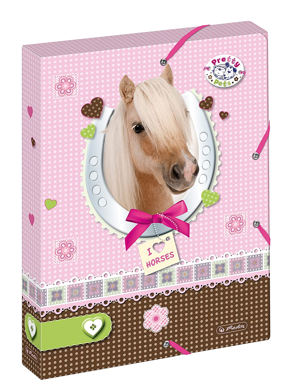 Herlitz 10530012/cartella portadocumenti A4/con 2/elastici Pretty pets cane dorso 4/cm r/ücken 4 cm cavallo