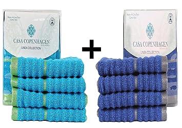 CASA COPENHAGEN linea acanalado Zero Twist algodón 8-Pieces Toallas de cara (paño de lavado) Combo: Amazon.es: Hogar