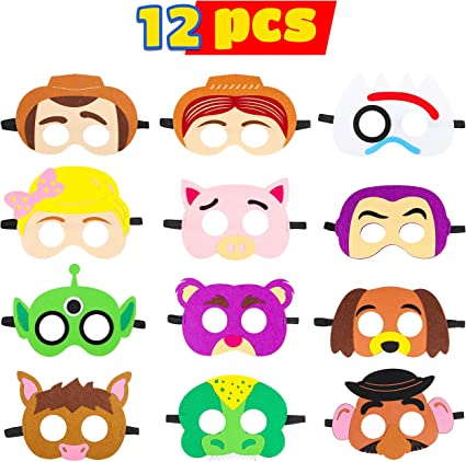 MALLMALL6 Toy 4th Masks Birthday Party Supplies Toys 4th Adventure Party Favors Dress Up Costume Mask Include Woody Buzz Lightyear Bo Peep Bullseye ...