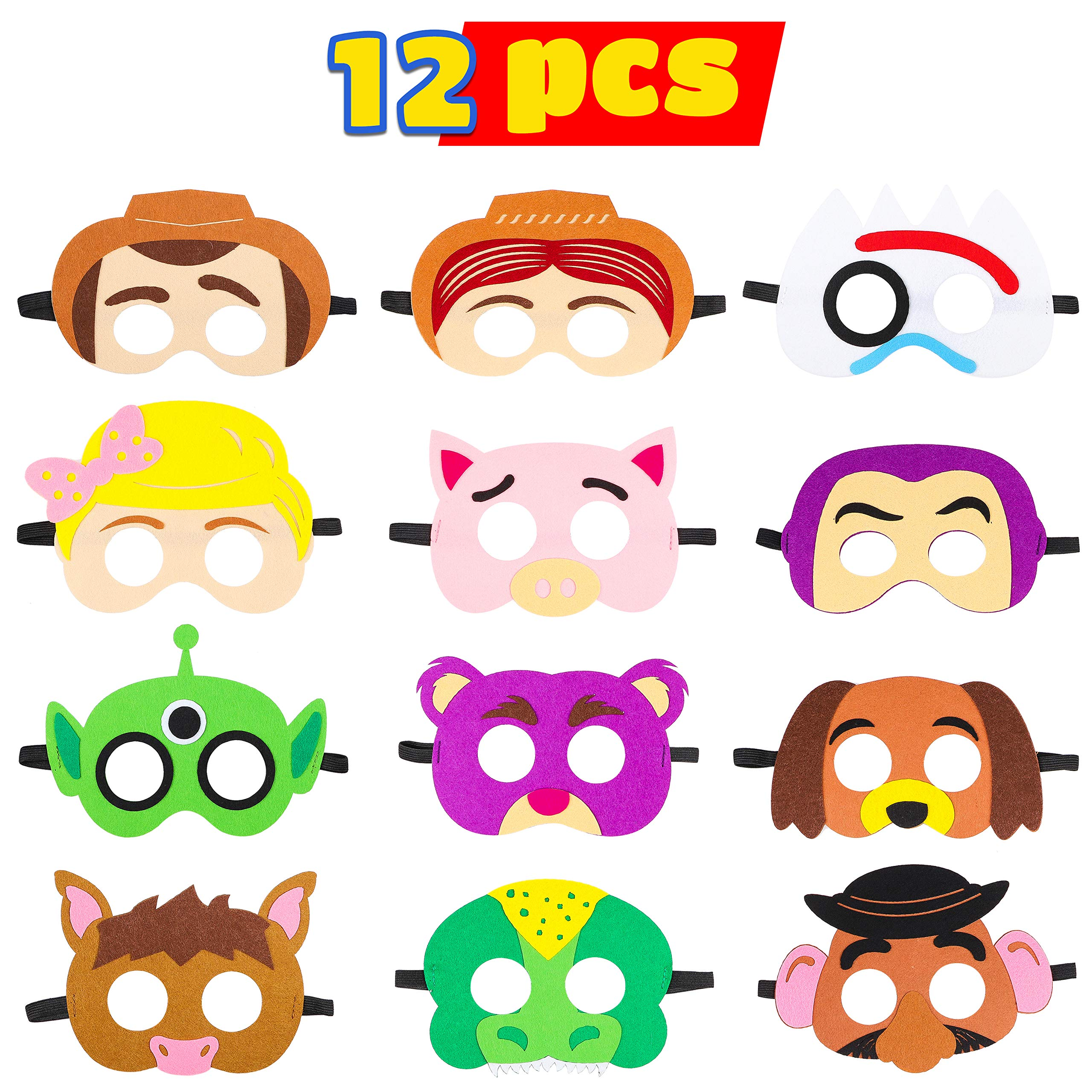 MALLMALL6 Toy 4th Masks Birthday Party Supplies Toys 4th Adventure Party Favors Dress Up Costume Mask Include Woody Buzz Lightyear Bo Peep Bullseye Forky Slinky Dog Jessie Mr Potato Head Rex for Kids
