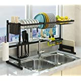 Over The Sink Dish Drying Rack, Double Cutlery Holder Kitchen Drainer Counter Organizer Supplies Shelf Storage Stainless Stee