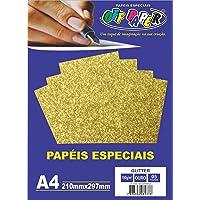 Papel A4 Glitter Ouro 180g. , Caixa com 5 Unidade, s, Off Paper, Multicor