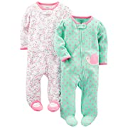 Simple Joys by Carter's Baby Girls' 2-Pack Cotton Footed Sleep and Play, Pink Floral/Mint Snail, 0-3 Months