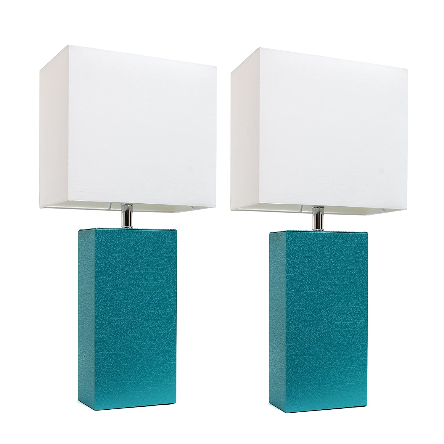 "Elegant Designs LC2000-TEL-2PK 2 Pack Modern Leather Table Lamps with White Fabric Shades, 3.9"", Teal"