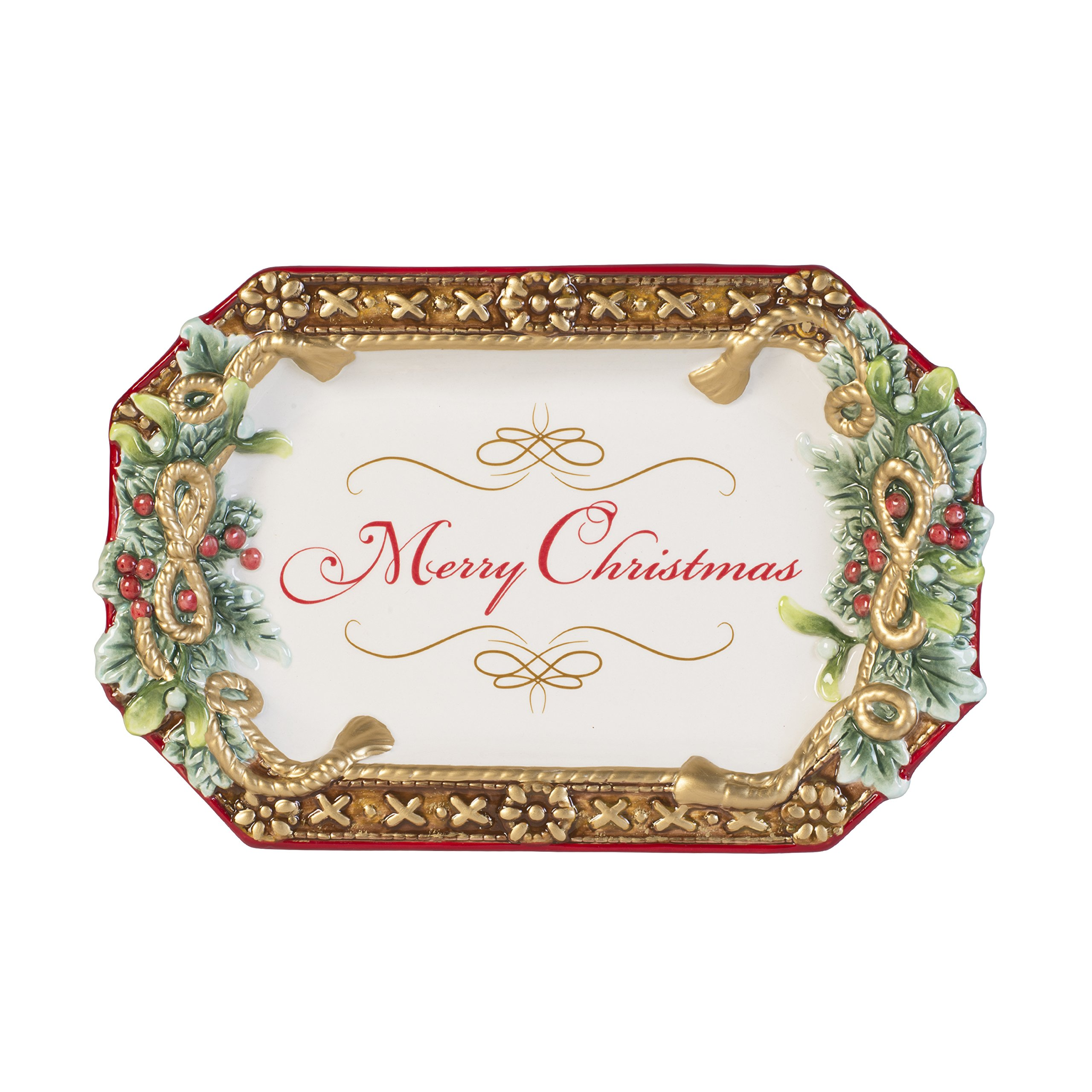 Fitz and Floyd 49-526 Yuletide Holiday Merry Christmas' Appetizer Serving Tray, Red