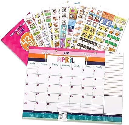 2018-2019 - Calendario mensual de mesa y pegatinas para eventos: Amazon.es: Oficina y papelería