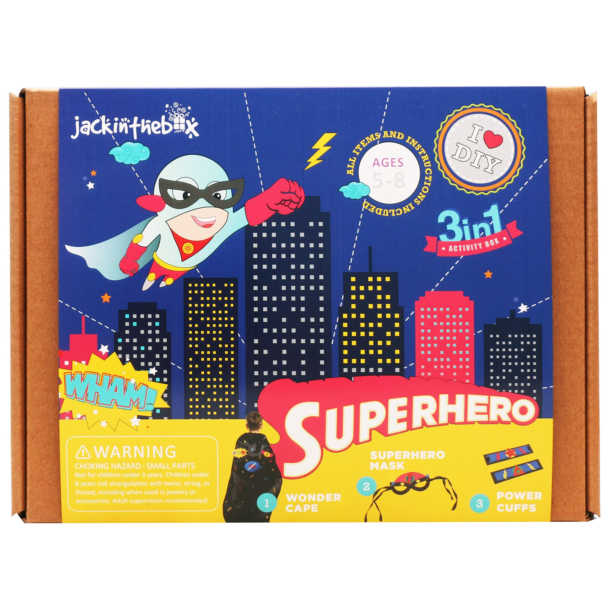 Art and Craft Costume Kit for Kids - Superhero 3-in-1 DIY Activities Pretend Play Costumes for Boys Ages 5-8, Perfect Birthday Gift for Boys Learning Stem Toys by JackInTheBox
