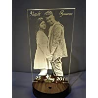 DESIGN ELLE 3D Illusion Multicoloured Wooden LED Lamp Personalised with Any Photo and Name or Message (Brown, 9x5x4-inch)