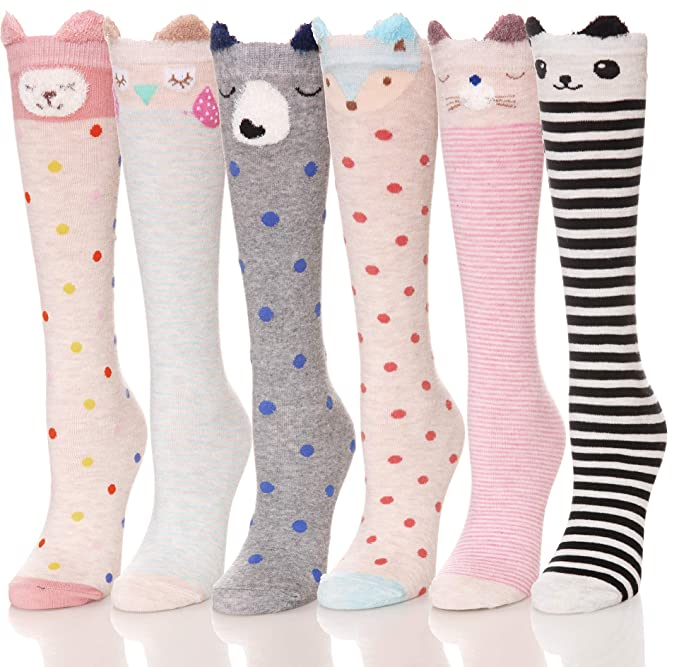 Girls Knee High Socks Animal Novelty Cute Fun Tight High Baby Toddler Children Dress Cotton 6 Pairs (Animal1) best stocking stuffers for teen girls
