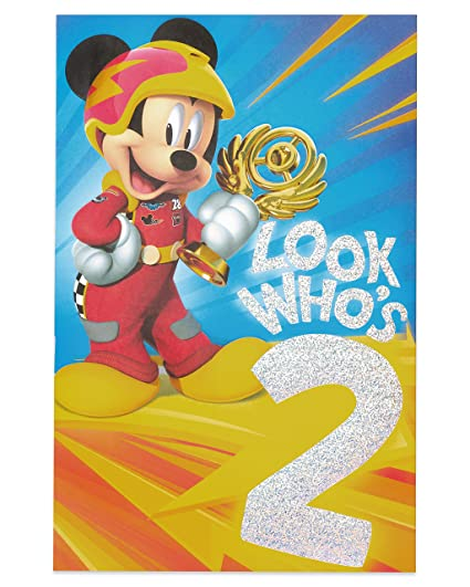 American Greetings Mickey Mouse 2nd Birthday Card For Boy With Foil