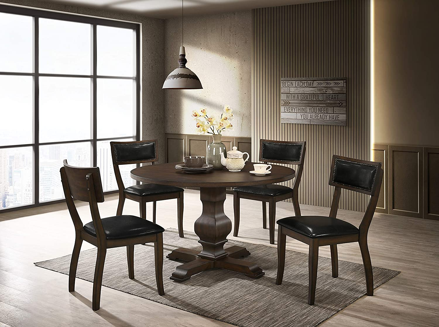 Roundhill Furniture Havre Wood 5-Piece Pedestal Dining Set, Burnished Oak