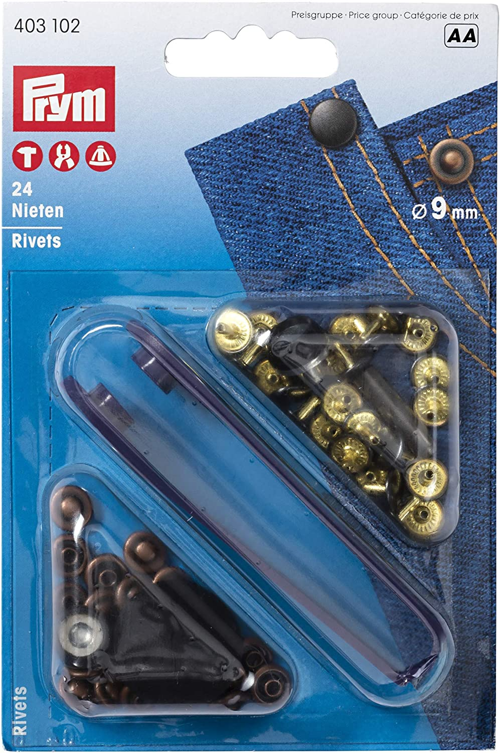PRYM 403102 Rivets Size 9mm antique copper//black oxidized 24 pieces