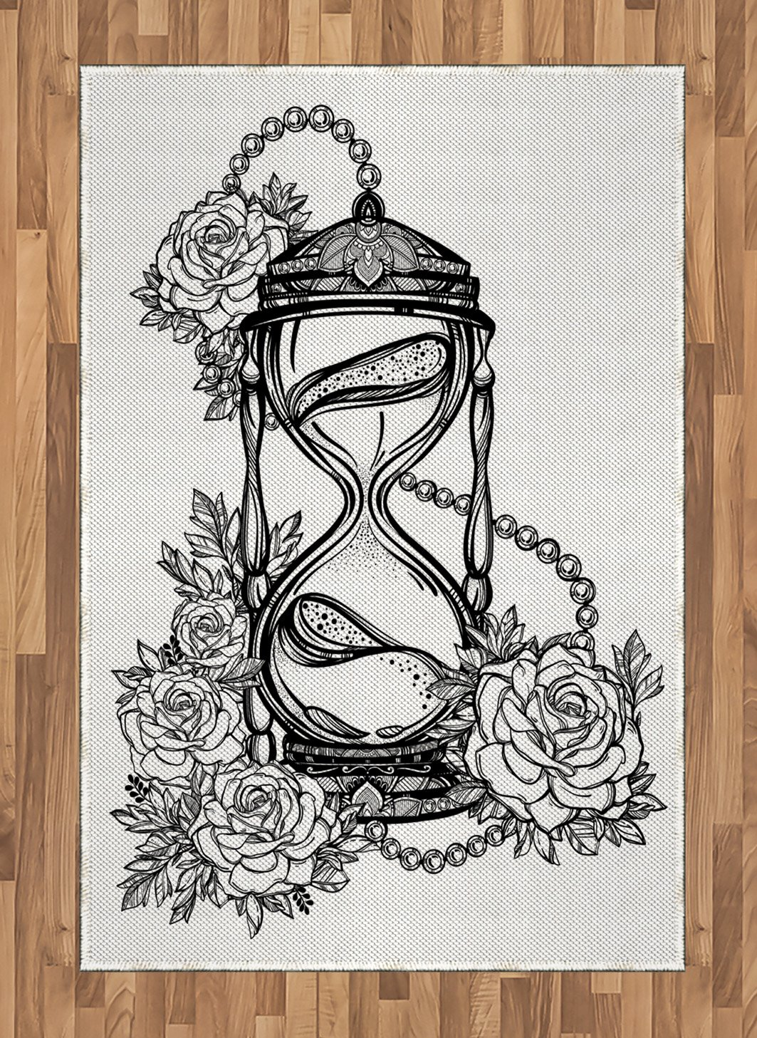 Ambesonne tattoo area rug pencil drawing romantic theme hourglass symbol of eternal love with roses print flat woven accent rug for living room bedroom
