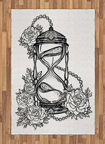 fcd25baef Ambesonne Tattoo Area Rug, Pencil Drawing Romantic Theme Hourglass Symbol  of Eternal Love with Roses