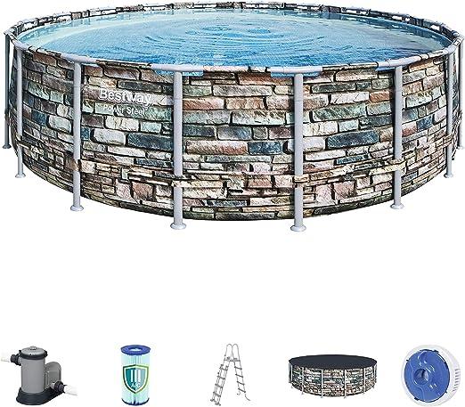 Bestway Power Steel Framepool - Piscina (Redonda, con Bomba de Filtro, Escalera de Seguridad y Cubierta de Lona, 549 x 132 cm), Multicolor: Amazon.es: Jardín