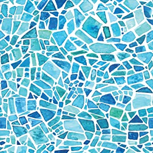 Home Decor Line CR-68415 Blue Mosaic Premium Window Film