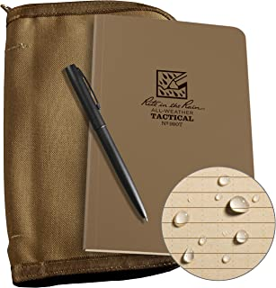 """product image for Rite in the Rain Weatherproof Tactical Field Kit: Tan Cordura Fabric Cover, 4 5/8"""" x 7 1/4"""" Tan Tactical Notebook, and Weatherproof Pen (No. 980T-KIT)"""