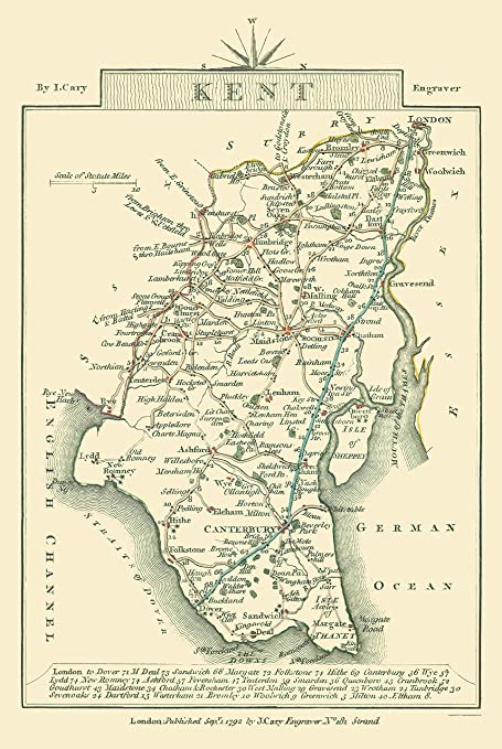 Kent Map Of England.Amazon Com Old Great Britain Map Kent County England Cary 1792