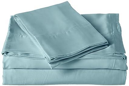 500c51dc2262a Brielle 100-Percent MicroModal from Beech Premium Sateen Sheet Set, King,  Blue