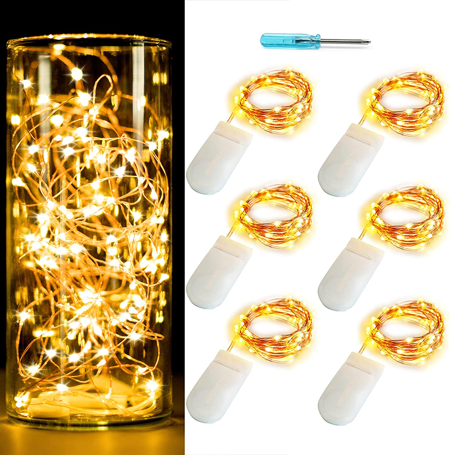 OakHaomie [6-Pack] 10ft(3m) LED Starry String Lights 30 Micro LEDs on Copper Wire,Fairy Lights Battery Powered by 2X CR2032(Included),for DIY Wedding Centerpiece Table Decorations (Rose Gold Warm)