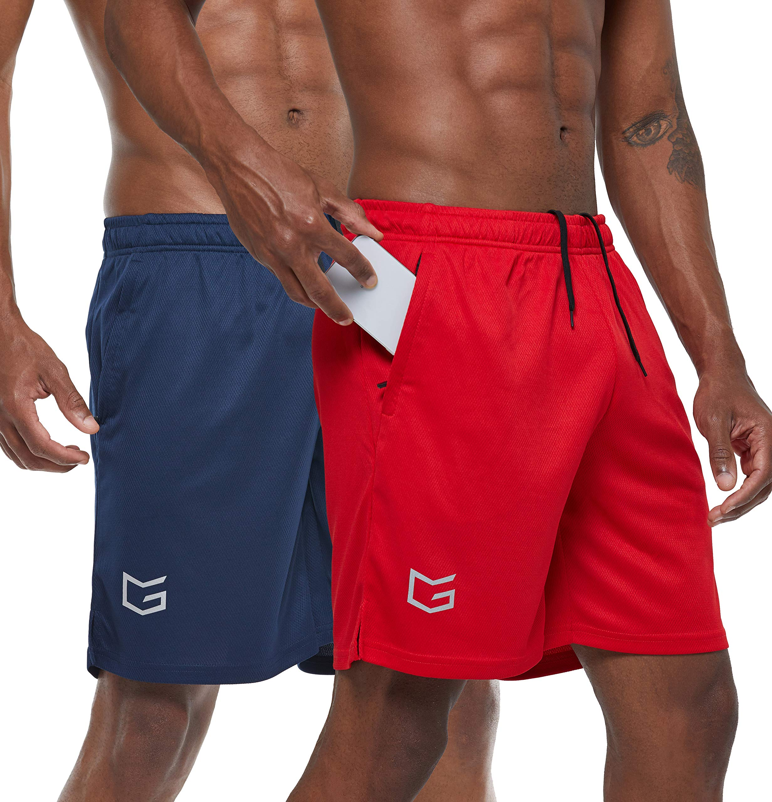 G Gradual Men's 7'' Workout Running Shorts Quick Dry Lightweight Gym Shorts with Zip Pockets (Navy Blue/Red, X-Large) by G Gradual