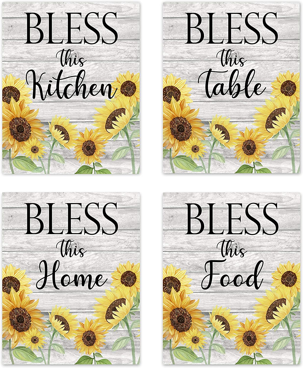 "Bless This Kitchen Home Table Food - Rustic Vintage Farmhouse Country Boho Wood Grain Inspirational Quotes Sayings Wall Art for Kitchen Dining Room Bar Decor Modern Signs Pictures Posters Prints Decorations Floral Flower Sunflower Unframed 8""x10"""