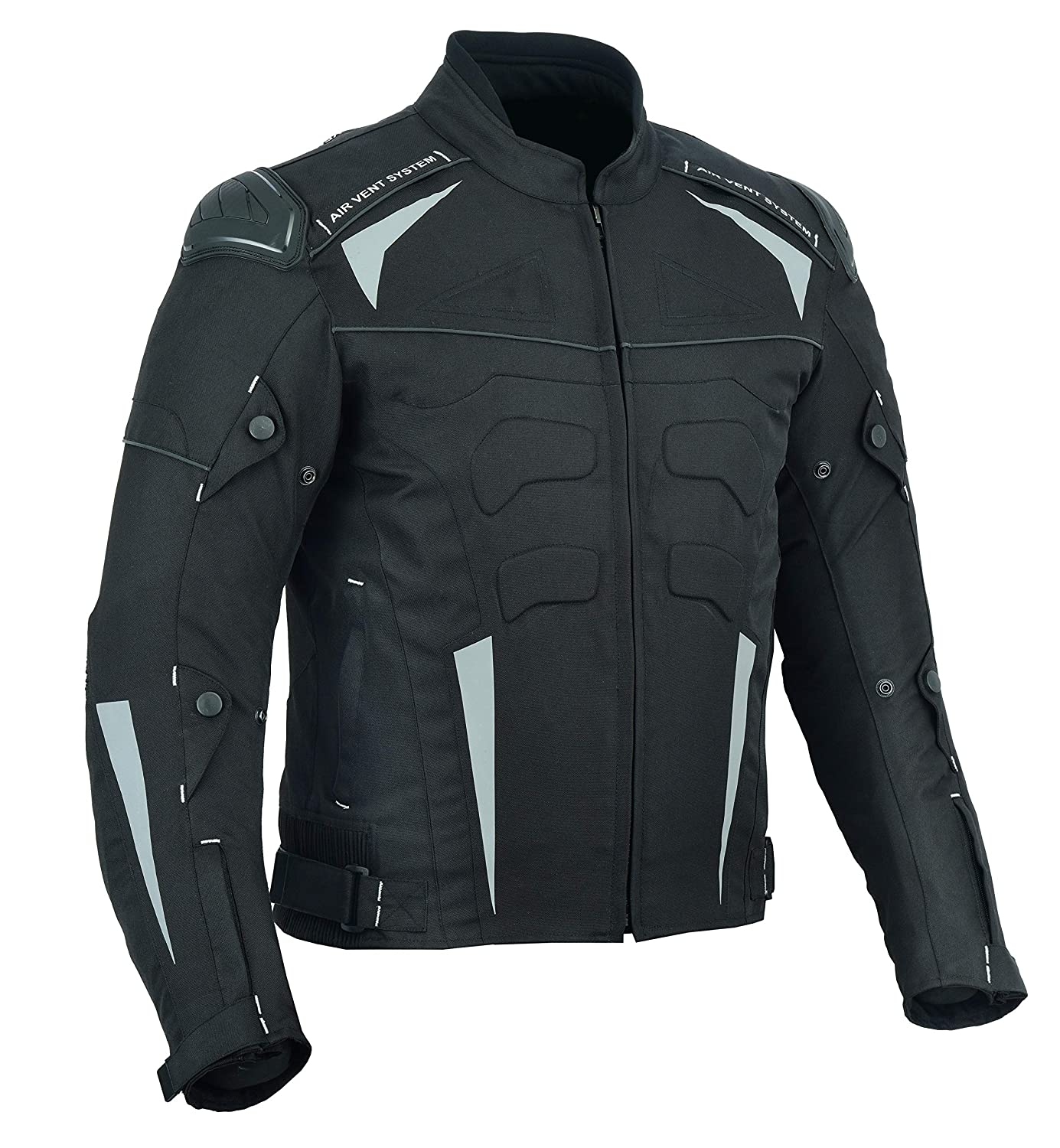 0321311bf MOTORCYCLE ARMOURED HIGH PROTECTION CORDURA WATERPROOF JACKET BLACK WITH 7  ARMOUR CJ-9434 (3XL)